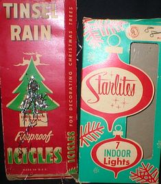 Vintage ornaments. remember icicles?  Heaven help you if one got in the electrical outlet!  Yikes!