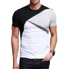 Kuegou Classic Color Block T-Shirt Code: 20126694 - Men's T-Shirts - Men's Clothing at Clothing.net