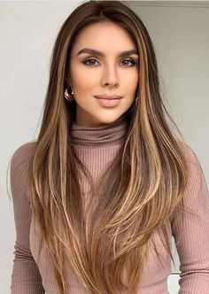 Best Of Balayage Hair Colors for Long Straight Hair in 2020 Straight Hair Highlights, Straight Brunette Hair, Brunette Hair With Highlights, Balayage Straight Hair, Brown Straight Hair, Haircuts Straight Hair, Hair Color Highlights, Thick Hair, Blonde Hair