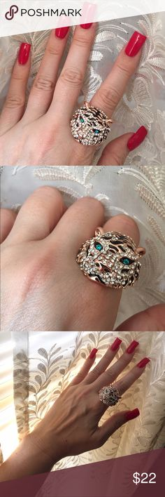 Gorgeous Tiger Ring Crystal embellished tiger ring. Rose gold band and settings. Striking aqua blue eyes. Rose gold tone. Stone missing from muzzle as pictured in image 4, but ring is new and unworn other than modeling for photographs. No box. No trades, no off App transactions. Jewelry Rings