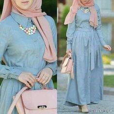 Chiffon and cotton maxi hijab outfits – Just Trendy Girls Hijab A Enfiler, Hijab Outfit, Abaya Fashion, Modest Fashion, Fashion Outfits, Modest Dresses, Stylish Dresses, Modele Hijab, Mode Abaya