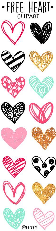 Doodle Heart Clip Art #scrapbookprintables