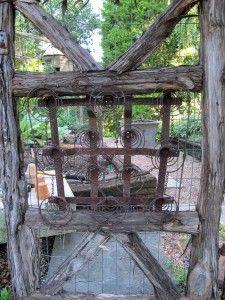 garden gate made with junk