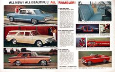 1963 Rambler Model Line original vintage ad. Features the Ambassador 990 2-Door Sedan, the Classic Six 770 Station Wagon, the American 440-H Hardtop, and the American 440 Convertible.