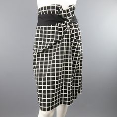 ffc436d048 DRIES VAN NOTEN Size 6 Black   White Windowpane Asymmetrical Drap Pencil  Skirt