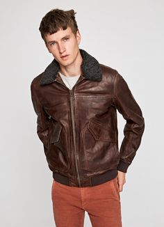 BARTON LEATHER BOMBER JACKET Pepe Jeans, Bomber Jacket, Leather Jacket, Coat, Jackets, Chocolate, Collection, Fashion, Studded Leather Jacket
