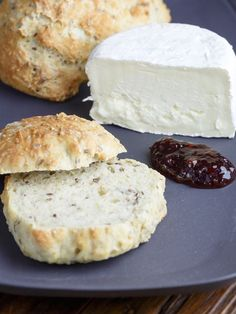 Danish Morning buns with cheese and jam. .