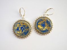 Blue gold silver earrings - Sterling silver earrings decorated with gold leaf - short hooks, leverback earrings