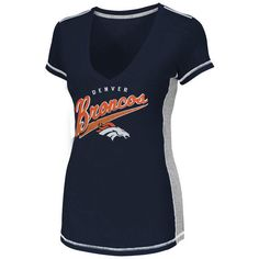 Denver Broncos Women's Light Up The Stadium V-Neck Slim Fit T-Shirt -... ($30) ❤ liked on Polyvore featuring tops, t-shirts, navy, navy blue tee, navy blue t shirt, majestic t shirts, slim tee and v neck t shirts