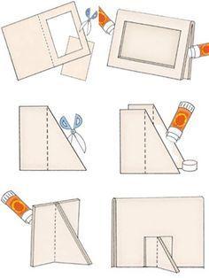 Casa Ro: DIY: hacer que su marco . Diy Photo Frame Cardboard, Cardboard Frames, Picture Frame Crafts, Cardboard Box Crafts, Cardboard Furniture, Paper Frames, Diy Arts And Crafts, Craft Stick Crafts, Diy Frame
