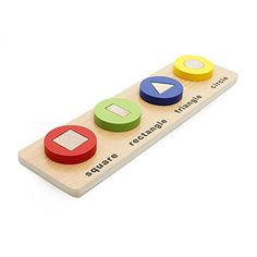 Rolimate Wooden Baby Shape & Color Recognition Colorful  Geometric Board Stack & Sort Puzzle Toy