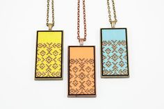 Geometric Southwest Pattern Pendant - Engraved Wooden Cameo Necklace (Custom Made / Personalized)