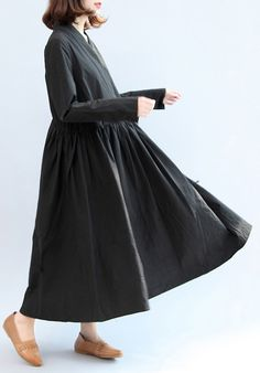 black casual cotton dresses long sleeve maxi dress
