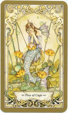 Sửng sốt Lá 5 of Cups - Mystic Faerie Tarot bài tarot Xem thêm tại http://tarot.vn/la-5-of-cups-mystic-faerie-tarot/