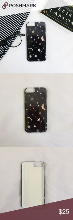 Moons and stars iPhone 6/7 case A cosmic phone case! Purchased from Society6. I don't remember what the artists name is. The design is printed, so there is no actual glitter on the case.  Brand new 🌜🌟 Society6 Accessories Phone Cases