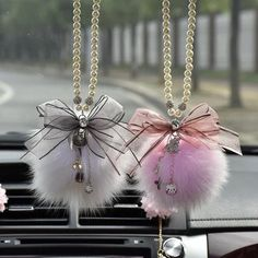 car accessories Car Mirror Charm- Bling crystal pendant and Fur Ball Rear View Ornament Pink Car Accessories, Car Interior Accessories, Women Accessories, Girly Car, Cute Keychain, Keychains, Bling, Car Mirror, Crystal Pendant