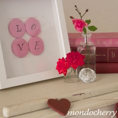 LOVE covered buttons in frame