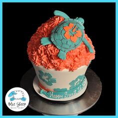 Turtle Giant Birthday Cupcake. I want this for my birthday! I love sea turtles!