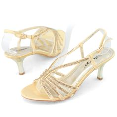 SHOEZY brand new low heel wedding shoes women gold sexy kitten ...