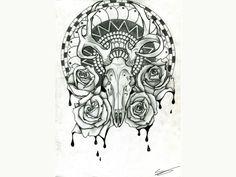Free designs - Skull of the deer tattoo wallpaper