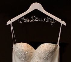 Hanger one Line personalized Custom Bridal by BellsAndKisses