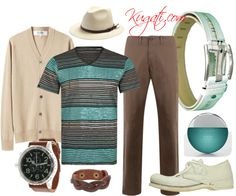 Men style: Casual brown and turquoise for office - Featuring Quato White Leather Belt