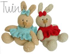 Twins' Knitting Pattern MiniShop: Baby Bunny - knitting pattern (in English). Not a free pattern but oh so cute! Knitted Bunnies, Knitted Animals, Crochet Bunny, Knitted Dolls, Crochet For Kids, Crochet Dolls, Knitted Baby, Bunny Toys, Baby Bunnies