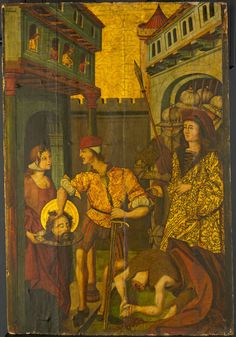 Master of Palanquinos Spanish, active c. 1470–1500  The Beheading of Saint John the Baptist, 1490/1500  Tempera and oil on panel 42 7/8 x 29 in. (109 x 73.7 cm)
