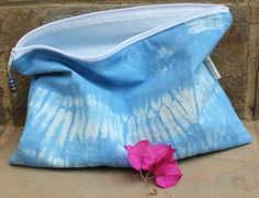 Shibori Dyed Pouch Cosmetic bag Make-up bag by KennaInAfrica Company Gifts, Unique Bags, Stocking Fillers, Bag Organization, Shibori, Bag Making, Bridesmaid Gifts, Cosmetic Bag, Coin Purse