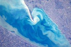 ESA astronaut Andre Kuipers captured the wave patterns on the Canadian side of Lake Erie during Earth Hour 2012. - ESA/NASA/REX