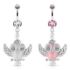 Cats Eye Owl With Gemmed Wings Glasses And Crown Dangle Surgical Steel Navel Ring.  #accessories #bodyjewelry #piercing #jewelry #piercings #bellyring #owl #navelring ♥ $12.49 via OnlinePiercingShop.com