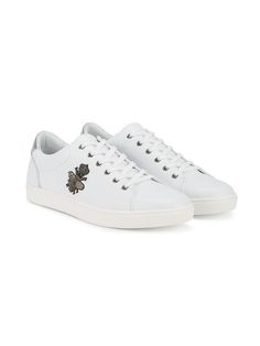DOLCE & GABBANA   bee embroidered low-top trainers  $945