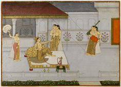 A Prince with Ladies on a Terrace. Opaque watercolor on paper, heightened with gold, North India, Mughal, ca. 1735, Miniature painting in the 18th century Mughal court experienced renewed patronage under Muhammad Shah, even though the political climate lacked stability. Paintings of this period often reflect melancholic or romantic themesfrom contemporary poetry. Here, a simple composition is rendered with beautiful surface detail in the architecture and figures. ...