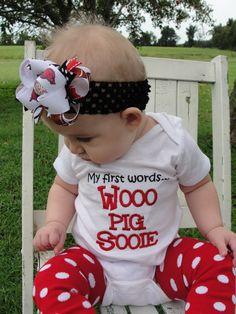 Arkansas Razorback - My 1st words Wooo Pig Sooie onesie...
