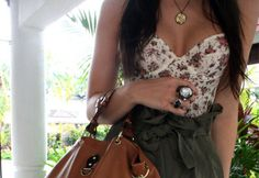 Floral sweetheart neck || Olive green high waisted skirt