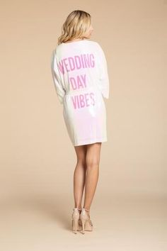 'Wedding Day Vibes' Robe by Hayley Paige at Sash & Bustle #sashandbustle #spaklerobe #hayleypaige #athleisure #hayleypaigeathleisure #gettingreadyrobes #bridalgift #bridesmaidsgift #robe