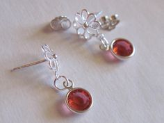 Clearance Sale Tangerine Post Earrings Crystal by LadyInPurple, $5.00