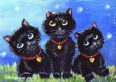 "Daily Paintworks - ""Three Black Kittens"" by Patricia Ann Rizzo"