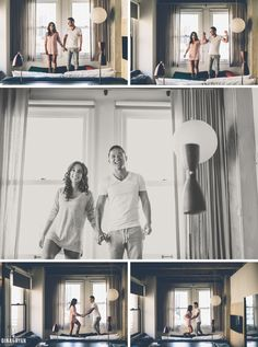 Cozy Indoor Engagement Photos | Ace Hotel | Pillow Fight