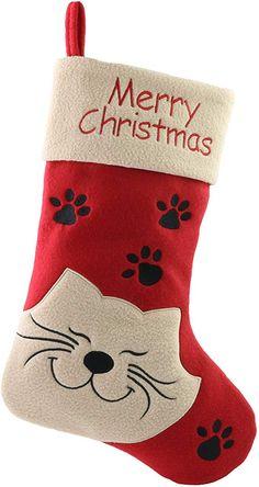 Christmas Stocking Decorations, Christmas Stocking Pattern, Christmas Stocking Holders, Christmas Sewing, Embroidered Christmas Stockings, Felt Christmas Stockings, Christmas Animals, Christmas Cats, Xmas Crafts