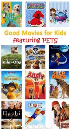 Good movies for kids starring dogs cats and other pets, great for family movie night, kids movie night, or movie party, especially for animal lovers