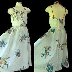 Floral Eyelet Spaghetti Strap Sundress // Vintage 1970s Summer Irises Dress