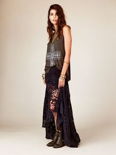shopstyle.com: Free People FP ONE Patchwork Lace Maxi Skirt