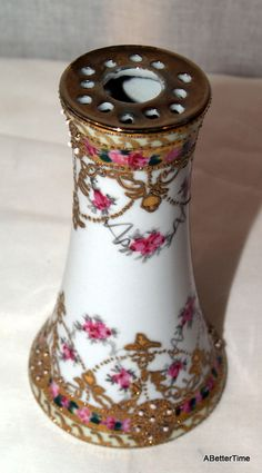 Antique Victorian Hand-Painted Roses Porcelain Hat-Pin Holder (with Hat-Pins… | Nippon antique hat pin holder