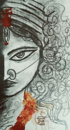 Maa Durga Art by Mrinal Dutt Durga Maa Paintings, Durga Painting, Indian Art Paintings, Painting Art, Bengali Art, Dancing Drawings, Art Drawings Sketches Simple, Drawing Ideas, Krishna Art