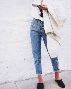 Mom jeans perfection // @closedofficial denim, @nanushka slides & @ilovemrmittens knit
