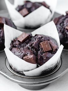 The Best Bakery-Style Double Chocolate Chip Muffins - Kickass Baker Now you can enjoy bakery-style double chocolate chip muffins at home with this easy, no-fuss recipe Bakery Recipes, Dessert Recipes, Gourmet Bakery, Double Chocolate Chip Muffins, Chocolate Muffin Recipes, Chocolate Chip Cupcakes, Breakfast Party, Bakery Muffins, Best Bakery