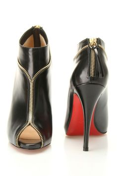{Col Zippe Booties In Black} Louboutin