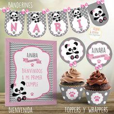 Kit Imprimible Osito Panda Nena, Decoración Bautismo, 1 Añito, Baby Shower Panda Baby Showers, Happy Birthday, Candy, Unicorn Birthday Parties, Unicorn Birthday, Panda Decorations, Baby Shower Decorations, Bebe, Happy Brithday