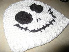 Jack Skellington Beanie Hat @Megan Harvey make this for your papa... to cover his bald head